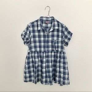 Free People Plaid Button Front Babydoll Top